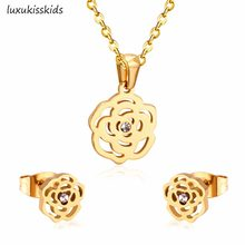 LUXUKISSKIDS אופנה שרשרת עגיל סטי נירוסטה זהב כסף צבע פרח תליון עם משלוח 45cm שרשרת שרשראות(China)