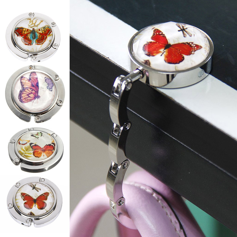 Foldable Metal Butterfly Purse Bag Hanger Handbag Table Hook BS88(China (Mainland))