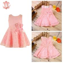 Summer New Girls Dress/elegant Princess Dress With Flower/fashion Lace Dress(China (Mainland))