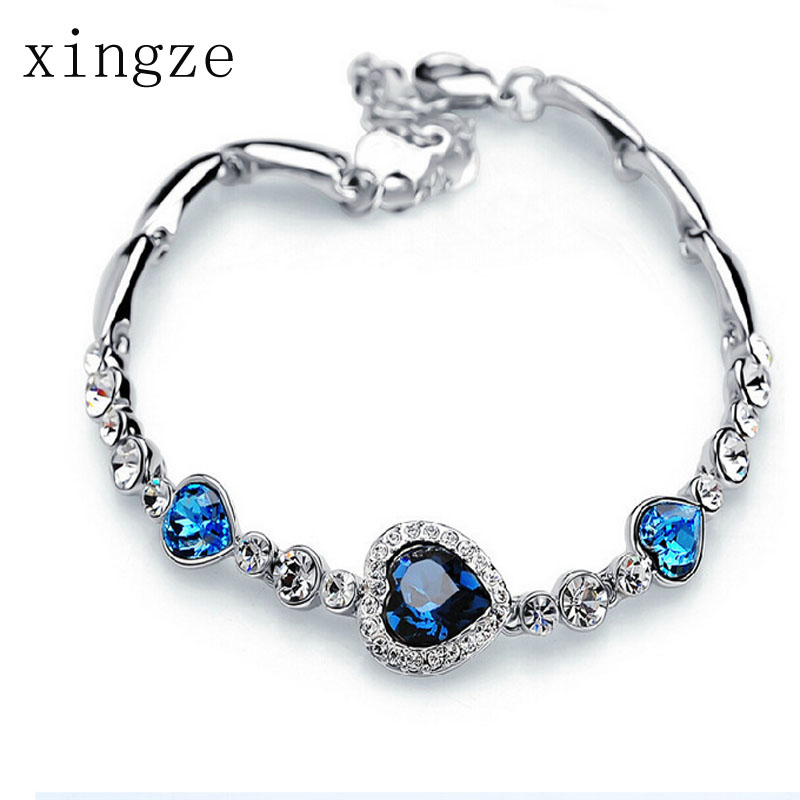 2016 New Style Love Heart Multicolor Crystal Silver Plated Bracelets Women Fashion Heart Of Ocean Hand Jewelry Wholesale(China (Mainland))
