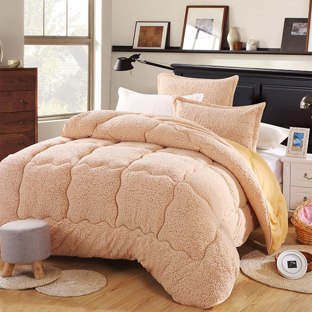 Australian Lambs Wool Warm Comforter Camel Double Thick Winter Quilt White Beige and Camel Color Full Queen King Size Quilt(China (Mainland))