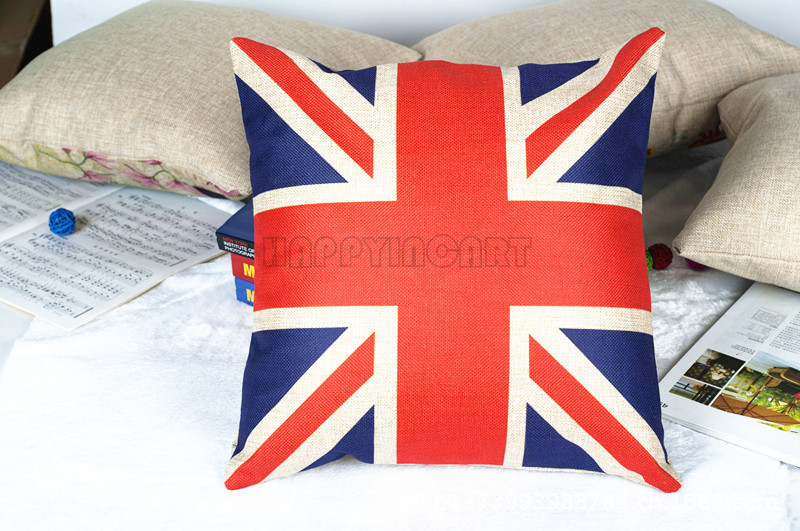"""18"""" Flag Print Throw Pillow Case Furniture Back Cushion Cover Home Auto Bedroom Decor Popular Pillowcase BHS346(China (Mainland))"""