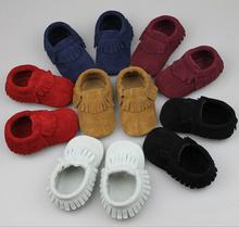 2015 nueva Suede cuero genuino Newborn Baby Infant Toddler mocasines blandos Moccs zapatos bebé suela blanda antideslizante Prewalker Shoes(China (Mainland))