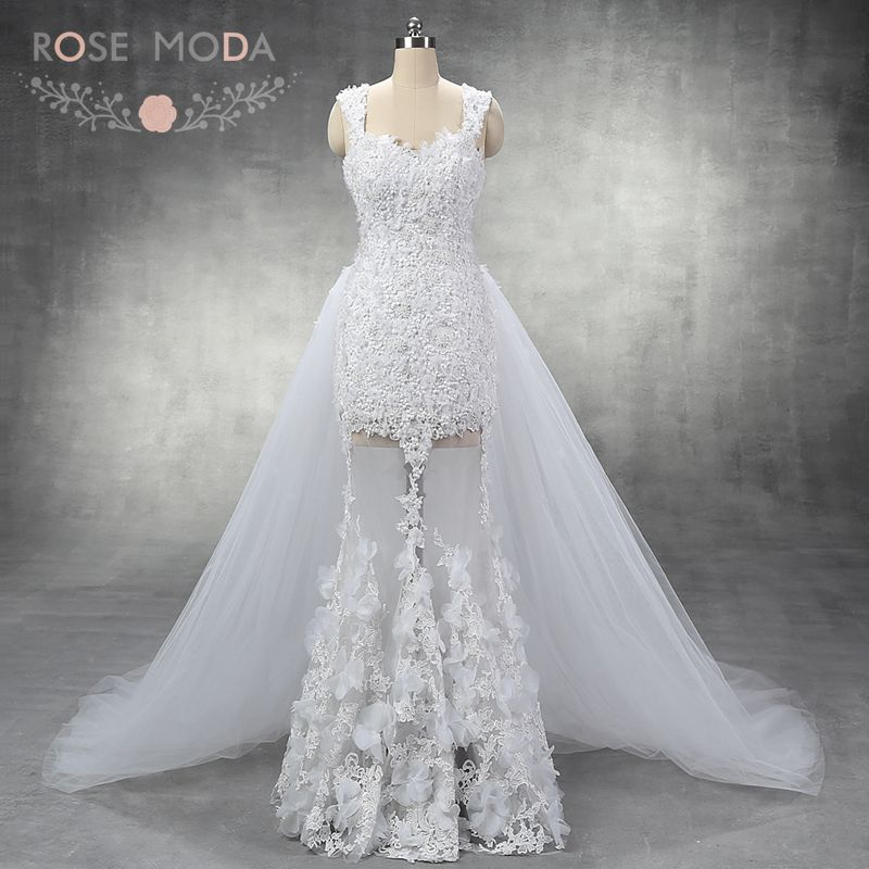 Sexy cap sleeves pearl beaded lace sheath wedding dress for See through lace wedding dress