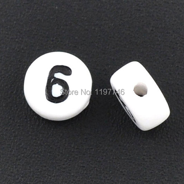 3600pcs 4*7mm Acrylic Flat Round Number Beads Plastic Letter Number Six Beads Deco Decoden Bead(China (Mainland))