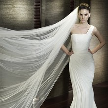 3m Wedding Veil 3 Meters Long Soft Bridal Head With Comb One-layer Lace Veil Ivory White Color Bride Wedding Accessories 2017(China (Mainland))