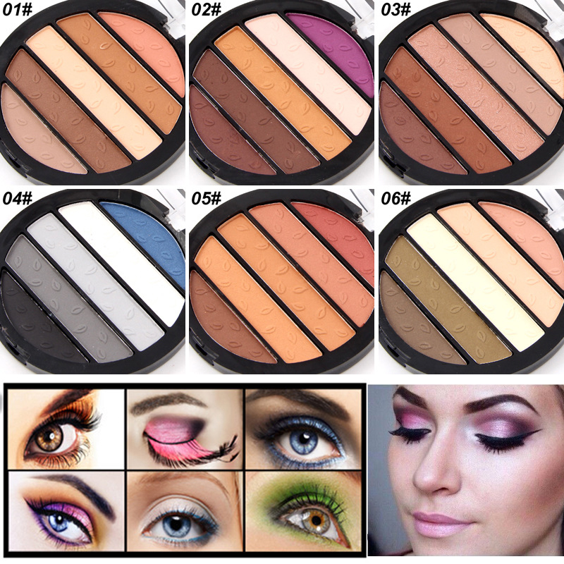 Waterproof Matte Eyeshadow Special Professional Makeup 5 Color/Palette Beauty Eye shadow Long-lasting Easy To Wear Free Shipping(China (Mainland))