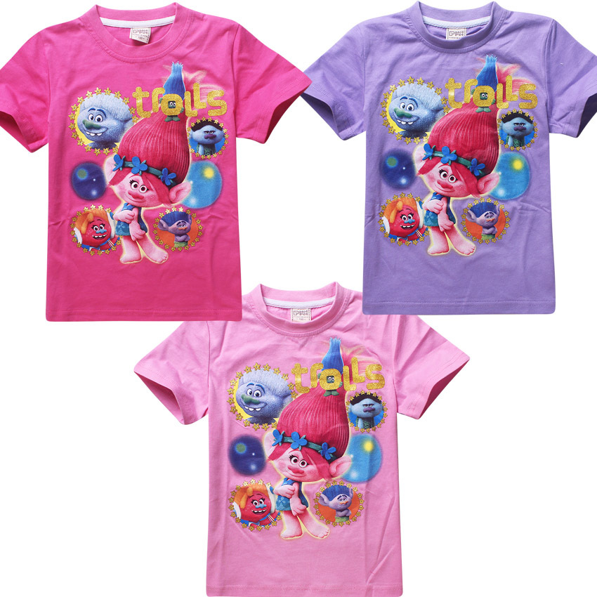 Trolls T-shirts For Girls Tops Summer Short Sleeve Shirt Children Ruffle Raglan Shirts Teen Super Cheap Clothing Monya(China (Mainland))