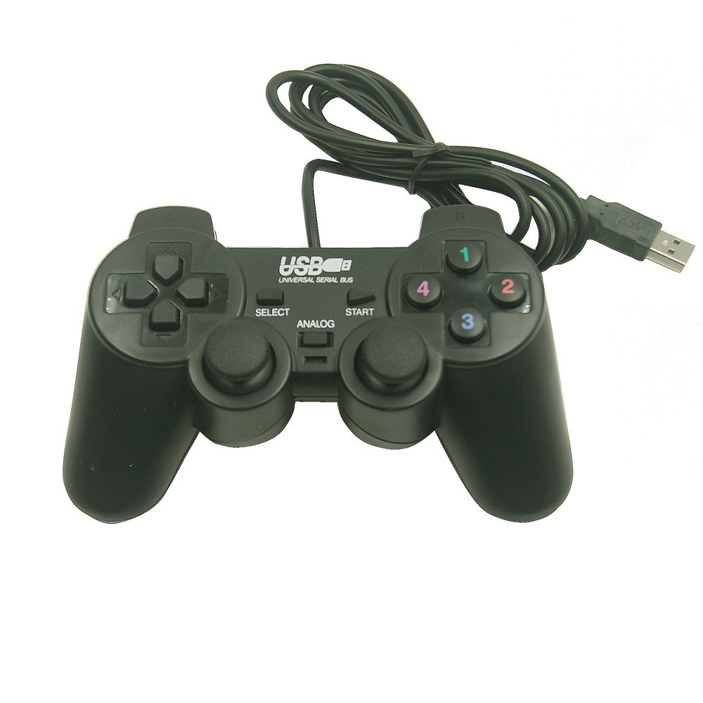 Гаджет  TOP Quality Black Shock Controller Gamepad,with double joystick double shock and mini USB for pc computer game controller None Компьютер & сеть