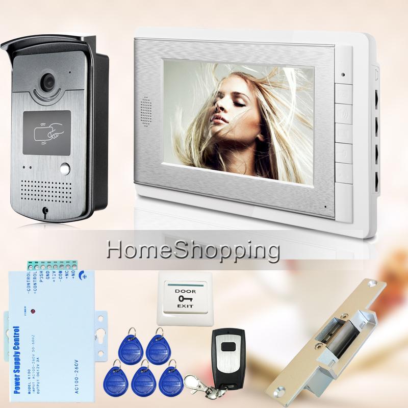 "Free Shipping Hot New Apartment 7"" Video Intercom Door Phone System With RFID Keyfob Reader Camera + Strike Door Lock Wholesale(China (Mainland))"