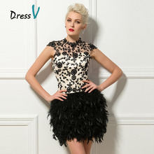 Dressv Black Short Feathers Cocktail Dresses Sexy Backless High Neck Cap Sleeves Lace Appliques Homecoming Party Cocktail Dress(China (Mainland))