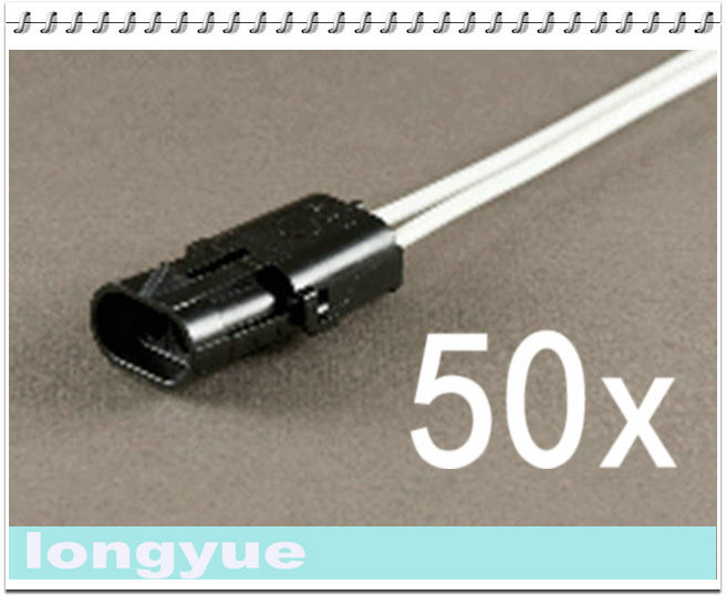 longyue 10pcs 2-Way male comnector pig tail Weather Pack Wire Harnesses 25cm wire(China (Mainland))