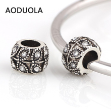 Buy 10 Pcs Lot Crystal Metal Beads Silver Plated DIY Accessories Jewelry Big Hole European Bead Fit Pandora Charms Bracelet for $3.51 in AliExpress store