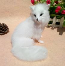 cute simulation beautiful fox toy polyethylene & furs white fox doll gift 14x15x16cm