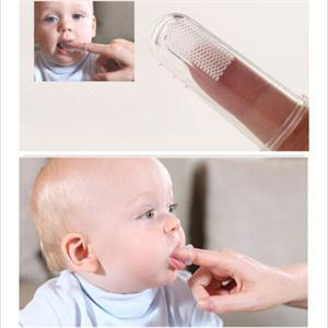 New Popular 2Pcs Soft Safe Baby Kids Silicone Finger Toothbrush Gum Brush For Clear Massage