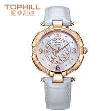 2015 nueva Tophill moda femenina genuina correa de cuero del cuarzo redondo caja de acero inoxidable ajuste piedras Swarovski relojes