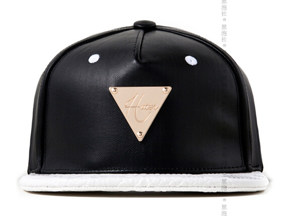 Snapback Cap HATER GRAIN LEATHER WITH WHIET SNAKE BRIM baseball cap Original Adjustable HIPHOP hat&caps men women Free Shipping(China (Mainland))