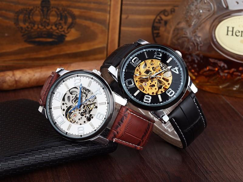 WHATCH Механическая мужская Vintage Автоматические часы Мужчины часы Мода Кожаный ремешок Часы топ известный бренд водонепроницаемый наручные часы
