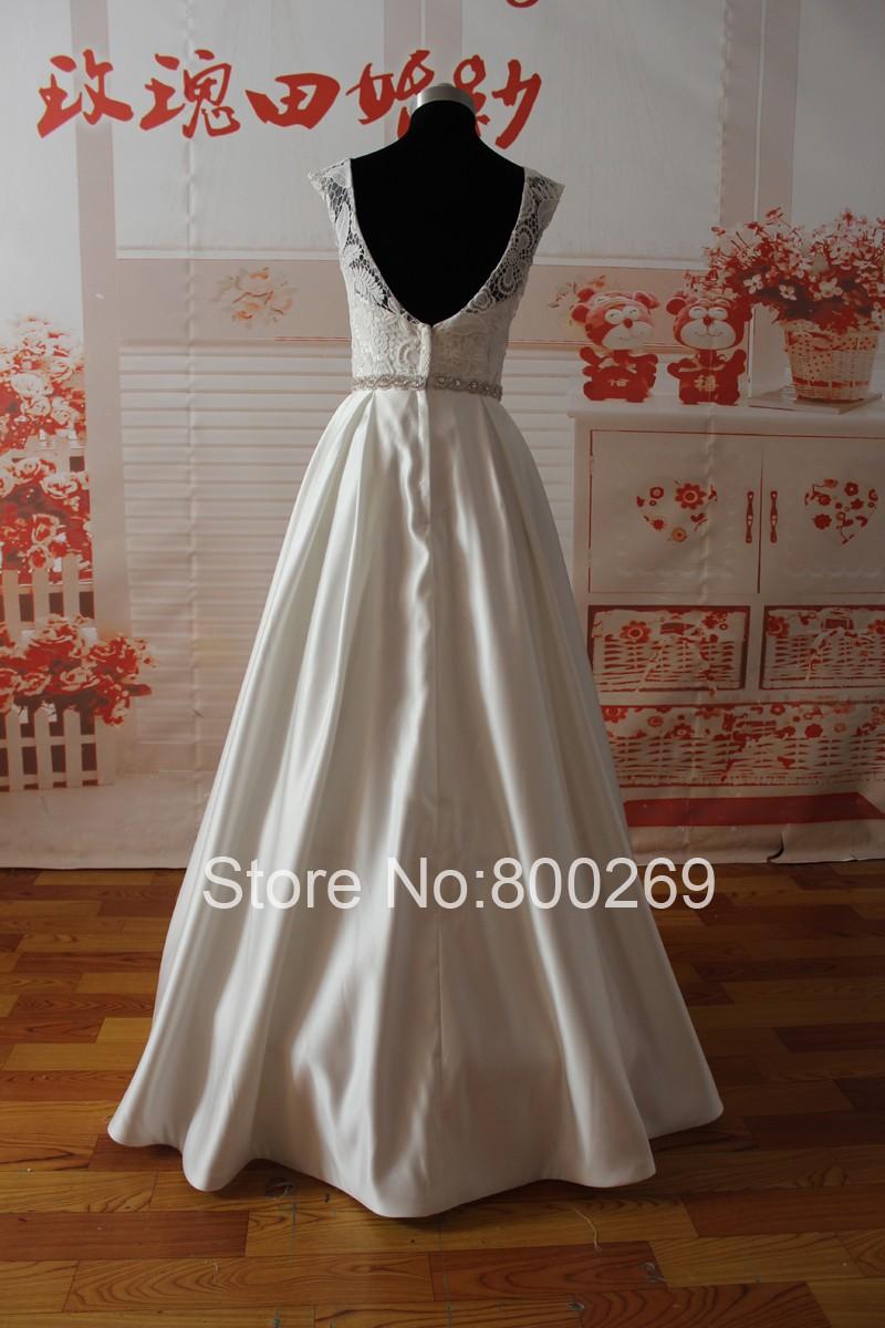 SL-022009 Elegant A-line Sweetheart Lace Bodice Beaded Belt Wedding Dress 2015