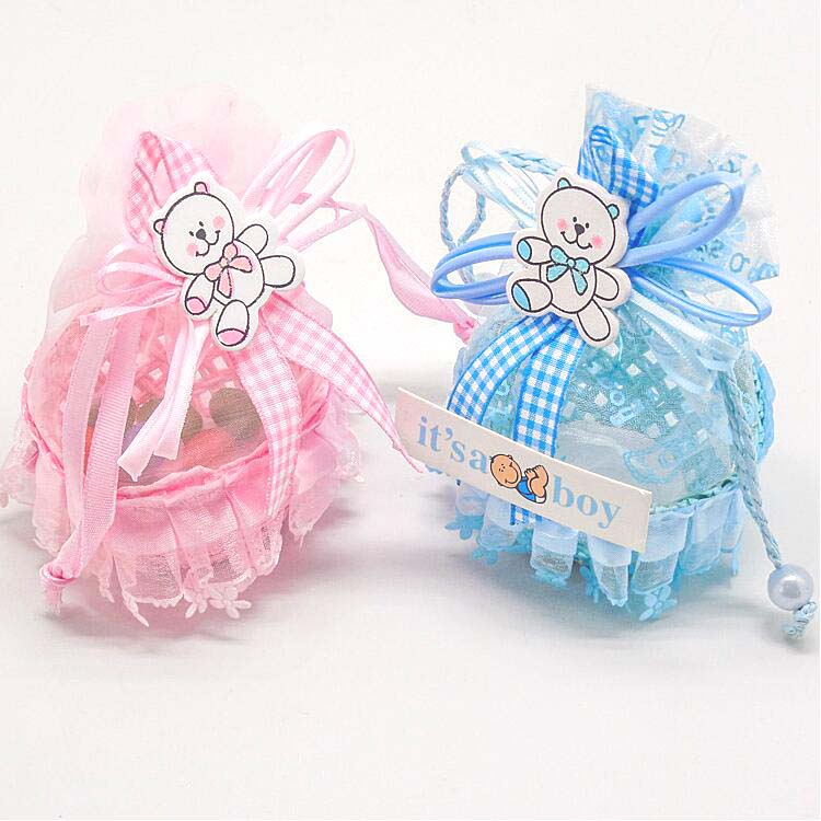 New Arrival BluePink Color Yarn Basket Candy Box Boy Girl Gift Bags
