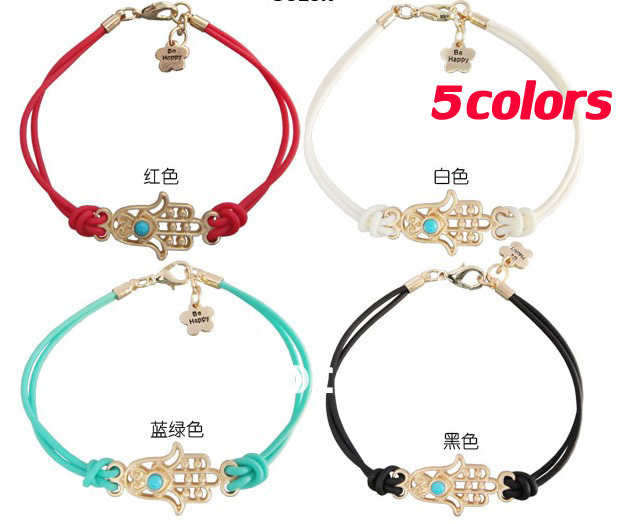 Fashion jewelry!5piece mixed color Hamsa Bracelet Wings Charm Kabbalah Hand wrist chain N01# free shipping with tracking number(China (Mainland))