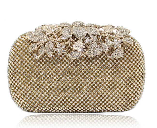 Free Shipping New Both Side Diamond Flower Crystal Evening Bag Clutch Bags Upscale Styling Day Clutches Lady Wedding Purse 3326(China (Mainland))