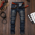 Mens Skinny jeans men Runway Distressed slim elastic jeans denim Biker jeans hiphop pants Washed black
