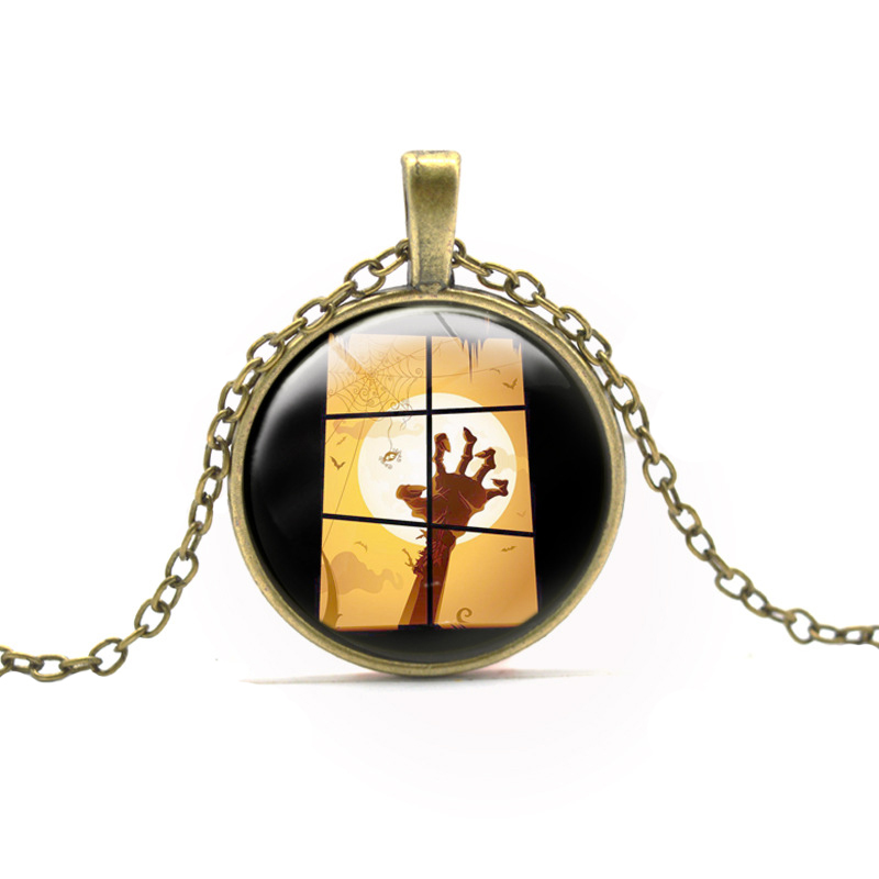 New Hot The nightmare before Christmas Skull Hand Pattern Pendant Necklace Halloween Jewelry Boy Girl Bat Necklaces Accessories(China (Mainland))