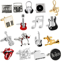 Free shipping Guitar Cufflinks black color music design hotsale copper material cufflinks whoelsale&retail(China (Mainland))