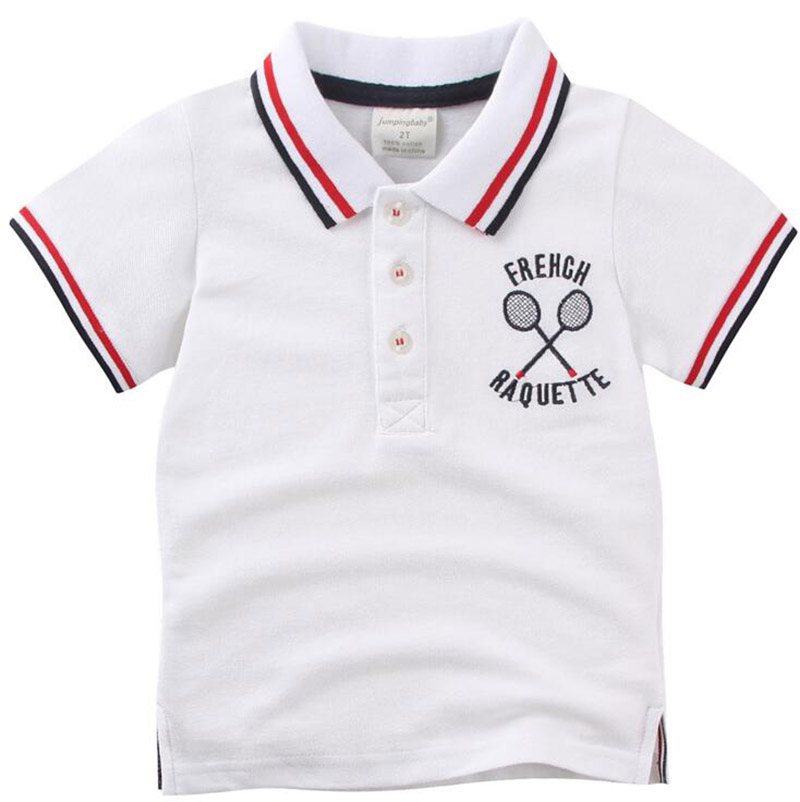 2016 Summer New Children Tennis Shirt Breathable Boys' White Polo Shirt Kids Pure Cotton Sport Wear Tops Racket Embroidered(China (Mainland))