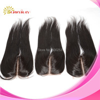 Deep Middle Part 3.5 by 4 Natural Black Color Brazilian Virgin Hair Lace Closure Hair