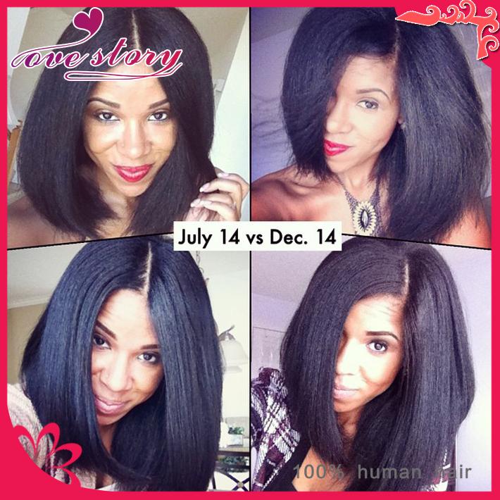 Natural hairline italian yaki human hair wig full lace short bob wigs 150% density virgin h