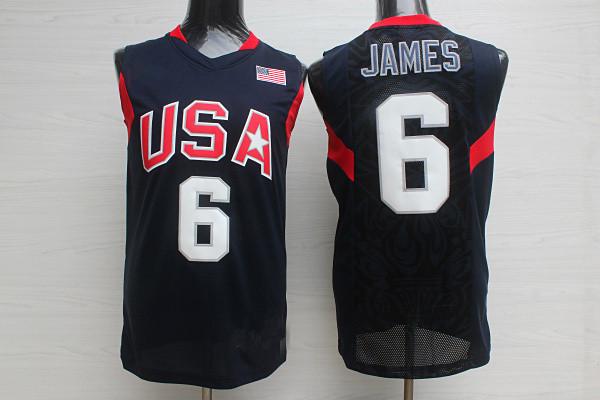 Cheap American Jersey # 6 Lebron James Basketball Jersey white black 2008 Beijing Olympic Games America Basketball Jersey(China (Mainland))
