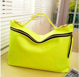 shoulder bag 2015 han edition big zipper fashion fashion mobile fluorescent color worn handbag crossbody bag women bag(China (Mainland))