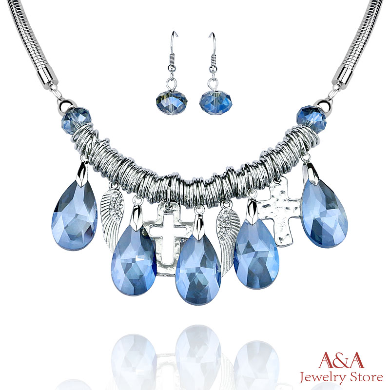 Statement Necklaces Cross Wings Blue Green Crystal Pendants Necklaces For Women(China (Mainland))