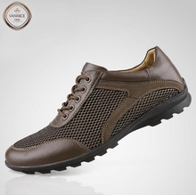 Plus Size 38-47,2016 New Mens Fashion Net Mesh Upper Breathable Casual Shoes,High Quality Brand Men's Genuine Leather Flats.