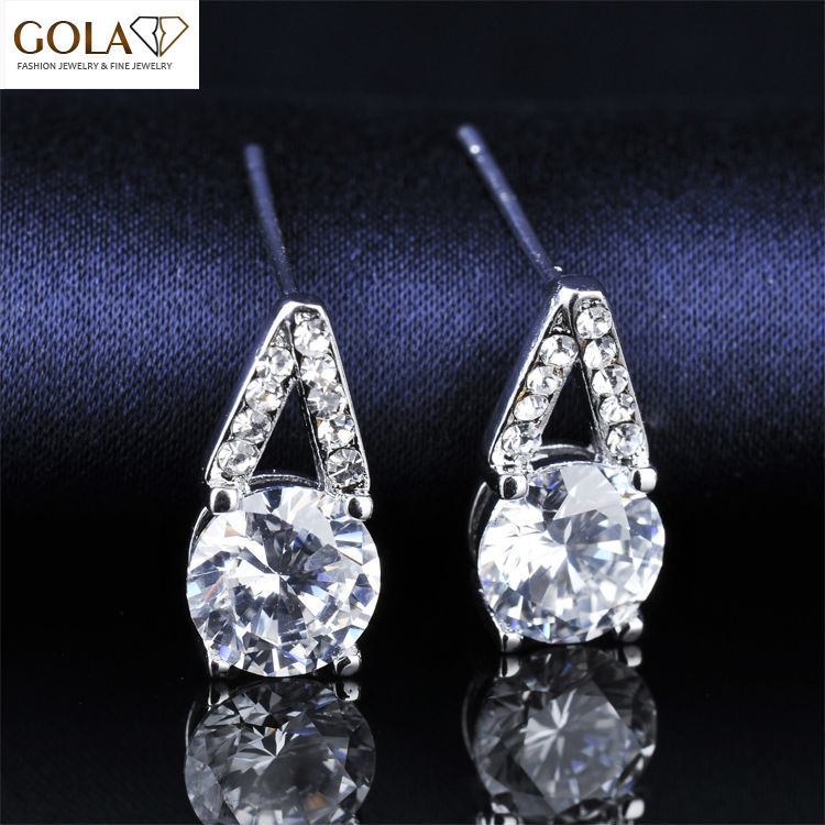 Free Shipping Luxury Cubic Zircon Diamond Jewelry Promotion Cheap Price Dangle Earrings For Christmas GLE4271(China (Mainland))