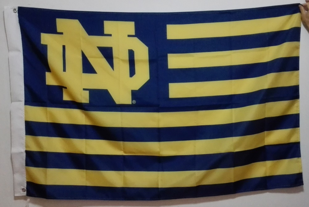 The University of Notre Dame Fighting Irish USA NCAA Flag hot sell goods 3X5FT 150X90CM Banner brass metal holes ND02(China (Mainland))