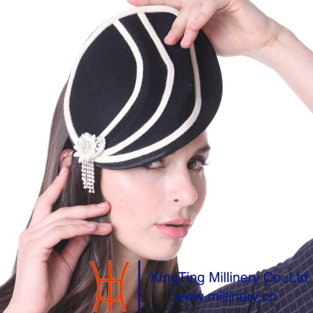 June's Young Women Cocktail Fascinator Hats Wedding Headwear With Headband Black Lady Fashion Winter Diamond Casings Accessories(China (Mainland))