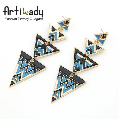 Artilady triangular design crystal drop earrings fashion gold plating blue rhinestone earrings for women jewelry party gift