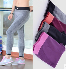 Women Sports Cropped Pants Elastic Wicking Force Exercise Female Sports Elastic Fitness Running Trousers Slim Leggings C1355(China (Mainland))