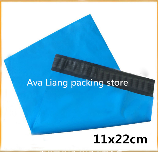 11x22CM 4.3x8.7inch Plastic Mailers Bag, Blue Poly Posting Courier Envelope, Premium Quality- 100PCS Blue(China (Mainland))