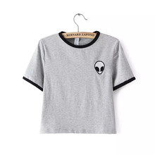New hot women tops embroidery design Aliens t shirts women short sleeve tee shirt comfortable female students t-shirts teenagers(China (Mainland))