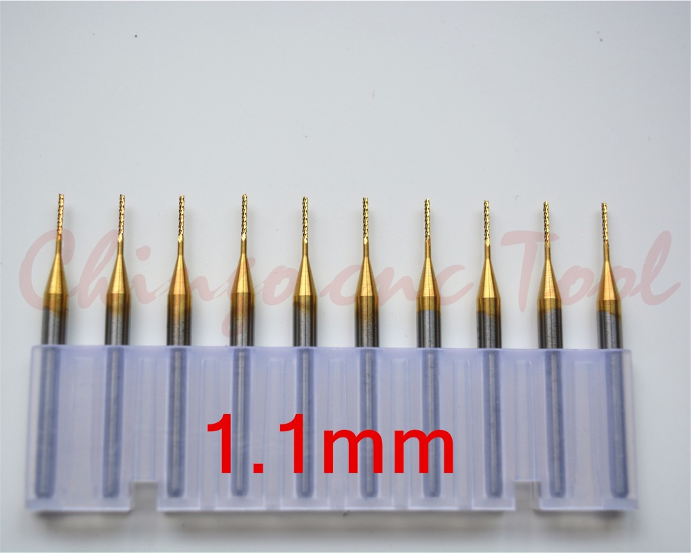 3.175mm(1/8'')*1.1mm,Freeshipping CNC PCB Bit,Micro PCB Board End mill,TiN coated Tungsten steel cnc tool,Smooth chip removal(China (Mainland))