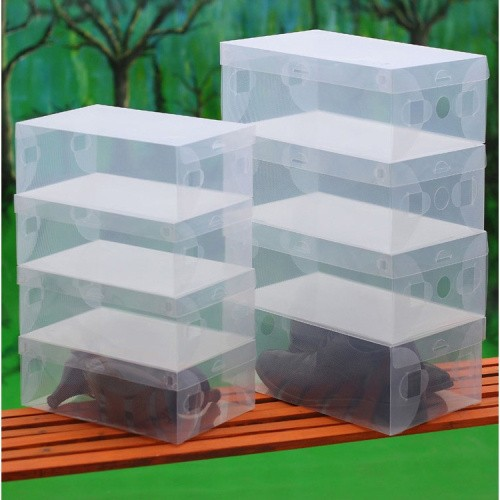 10X Transparent Clear Plastic Shoe Boxes Stackable Foldable Organizer Box Bulk Free shipping(China (Mainland))