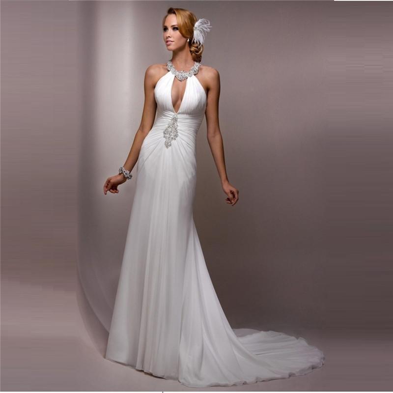 Crystal halter beach wedding dress 2015 pleated back for Halter wedding dresses beach