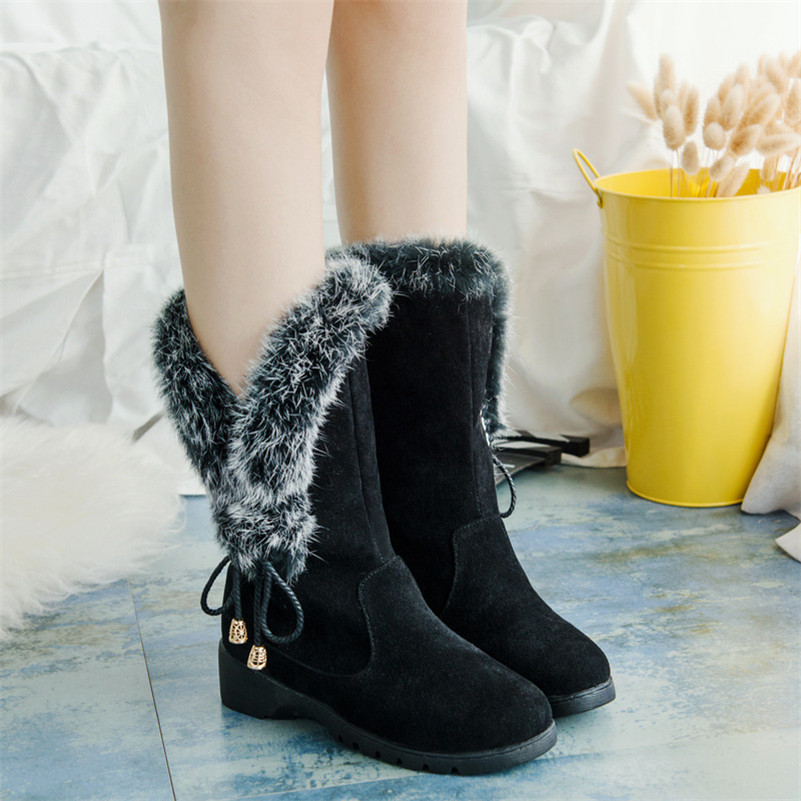2016 Winter New Shoes Women Boots Designer Ladies Winter Outdoor keep Warm Fur Boots Waterproof Women's Snow Boots(China (Mainland))
