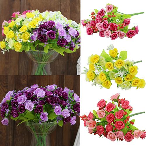 Гаджет  1 Bouquet 21 Heads Artificial Silk Fake Flowers Leaf for Home Table Wedding Party Garden Decoration Floral Flower Hydrangea 6FC8 None Дом и Сад