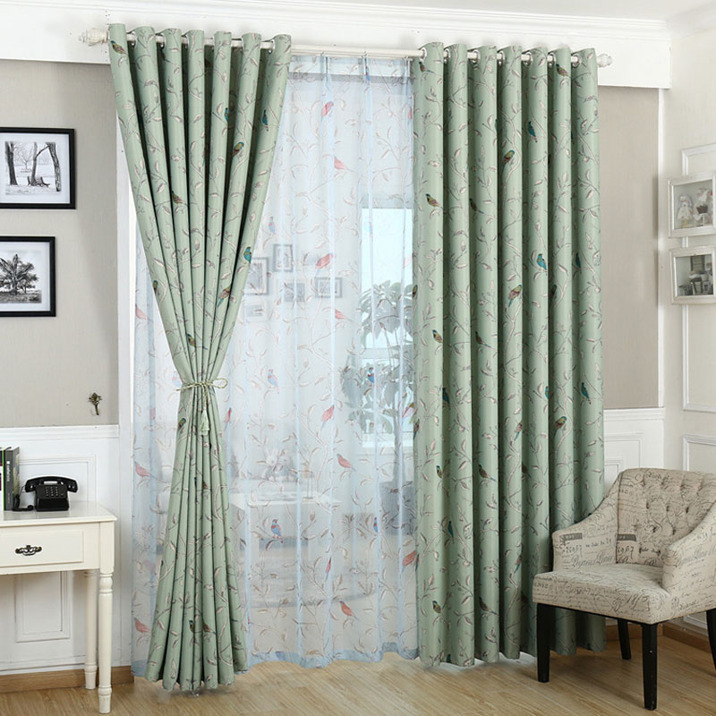 curtains for bedroom blue green pattern blackout window treatments