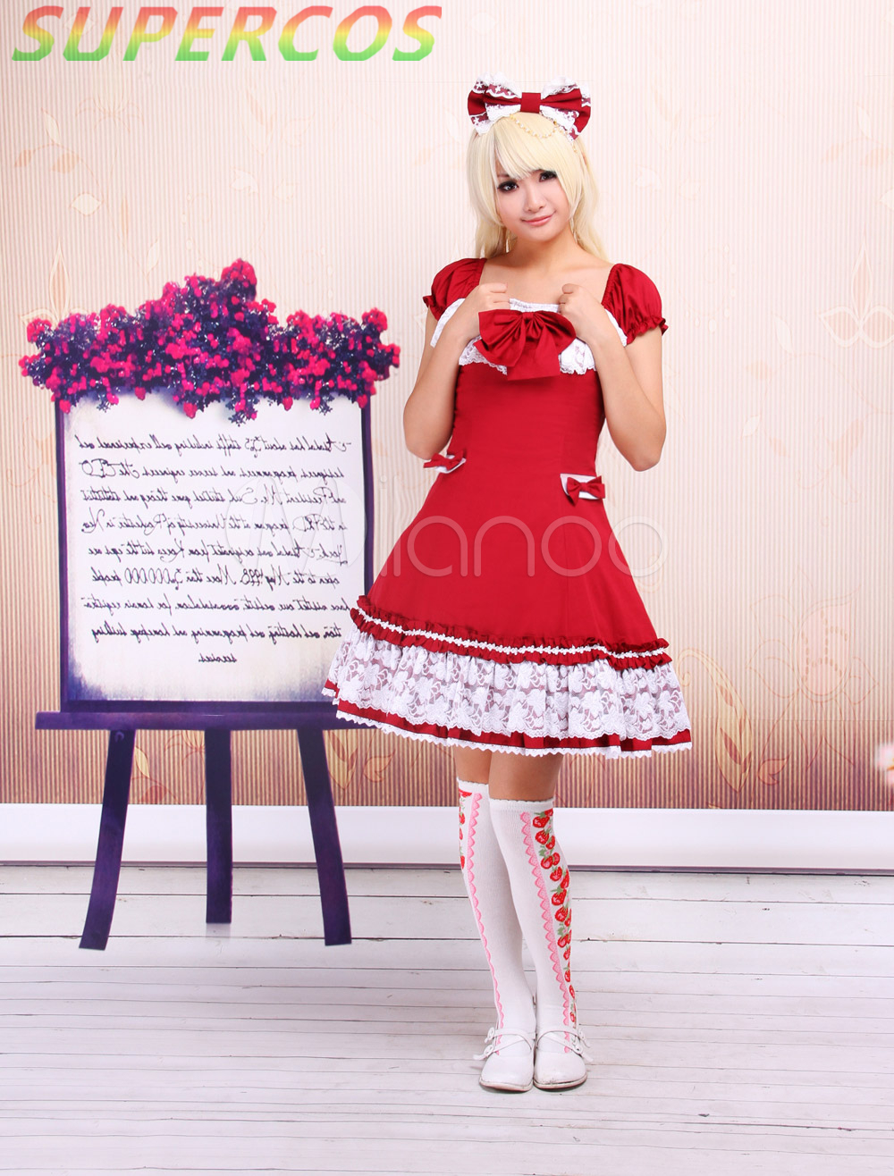 Free shipping! New Arrivals! High Quality! Sweet Red Short Sleeves Cotton School Lolita Dress